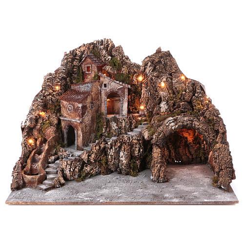 Borgo presepe illuminato con ruscello in movimento e grotta 55X85X65 cm presepe napoletano 1