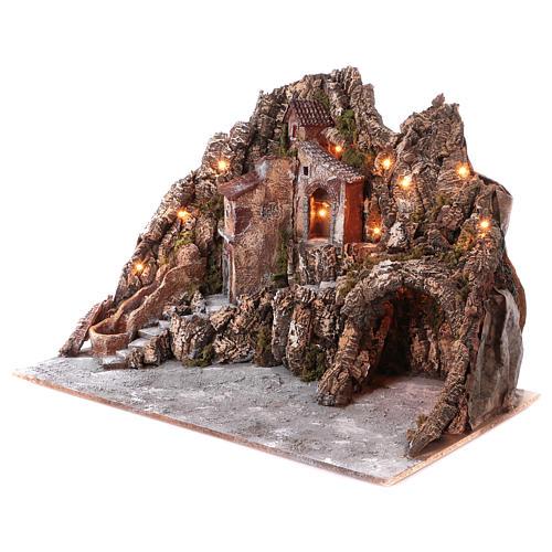 Borgo presepe illuminato con ruscello in movimento e grotta 55X85X65 cm presepe napoletano 2