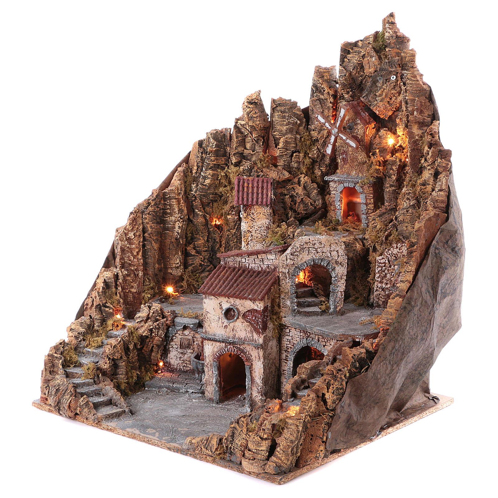 Borgo presepe completo fontana forno illuminato mulino funzionante 70X65X60 cm presepe napoletano 4