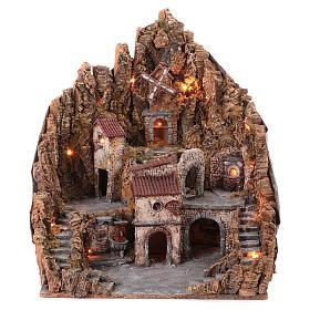 Borgo presepe completo fontana forno illuminato mulino funzionante 70X65X60 cm presepe napoletano s1