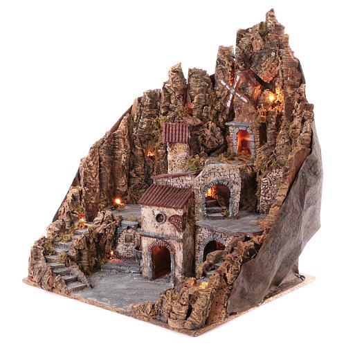 Borgo presepe completo fontana forno illuminato mulino funzionante 70X65X60 cm presepe napoletano 2