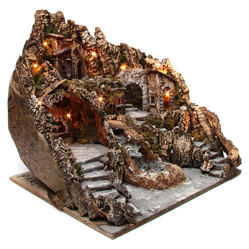 Neapolitan nativity scene village with oven and stream 55x60x60 cm 3