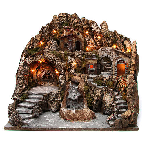Village for Neapolitan Nativity with lit oven and moving stream 55X60X60 cm 1
