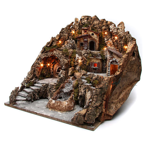 Village for Neapolitan Nativity with lit oven and moving stream 55X60X60 cm 2