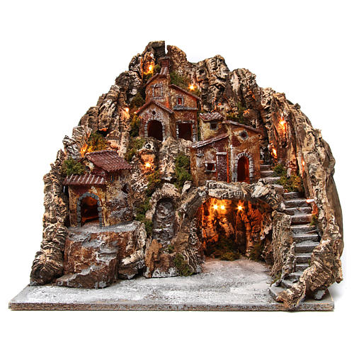 Neapolitan nativity scene setting with lights, cave and stream 50x50x60 cm 1