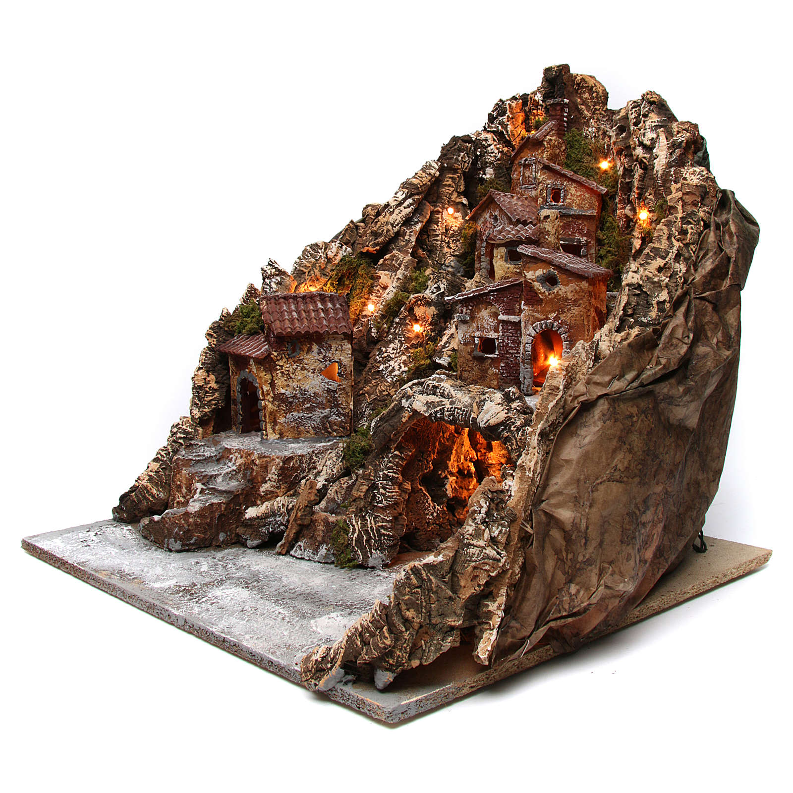 Presepe borgo illuminato con grotta Natività e ruscello movimento presepe napoletano 50X50X60 cm 4