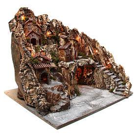 Presepe borgo illuminato con grotta Natività e ruscello movimento presepe napoletano 50X50X60 cm s3