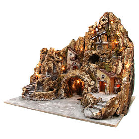 Nativity scene in wood, moss and cork with movements 60x70x65, Neapolitan style s2