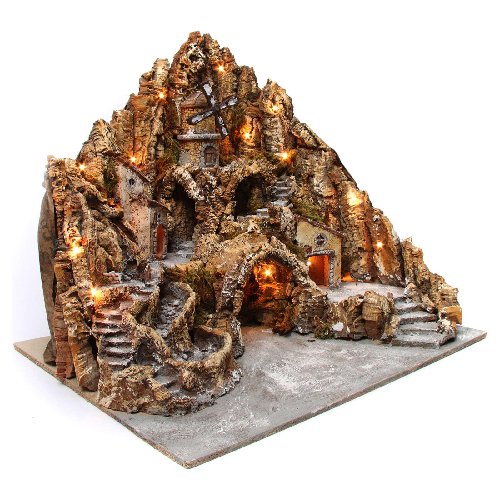 Belén iluminado de madera musgo corcho molino río horno 60x70x65 cm belén napolitano 4