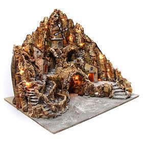 Belén iluminado de madera musgo corcho molino río horno 60x70x65 cm belén napolitano s3