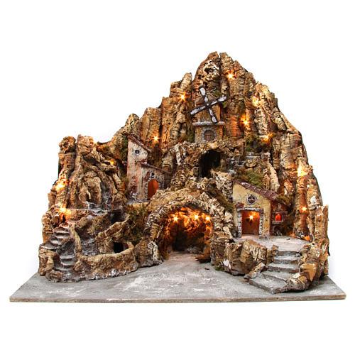 Belén iluminado de madera musgo corcho molino río horno 60x70x65 cm belén napolitano 1