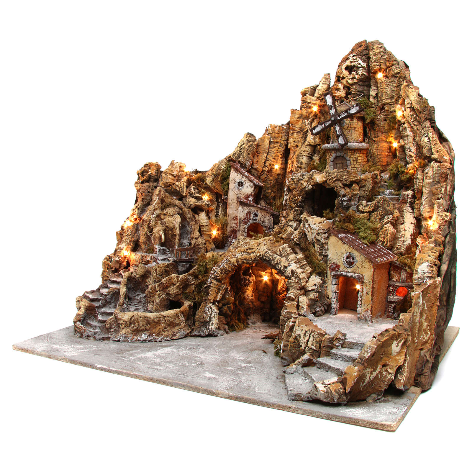 Presepe illuminato in legno muschio sughero mulino ruscello forno 60X70X65 cm presepe napoletano 4