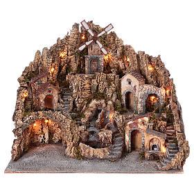 Presépio Napolitano: Aldeia presépio luzes moinho forno córrego gruta iluminada 70x85x65 cm presépio napolitano