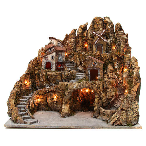 Nativity scene setting with lights, mill, stream and oven 60x65x65, Neapolitan style 1
