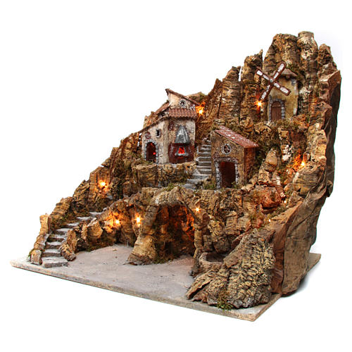 Nativity scene setting with lights, mill, stream and oven 60x65x65, Neapolitan style 2
