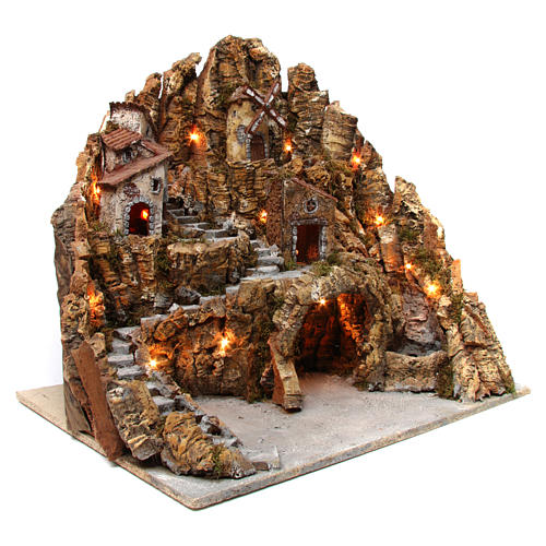 Nativity scene setting with lights, mill, stream and oven 60x65x65, Neapolitan style 3