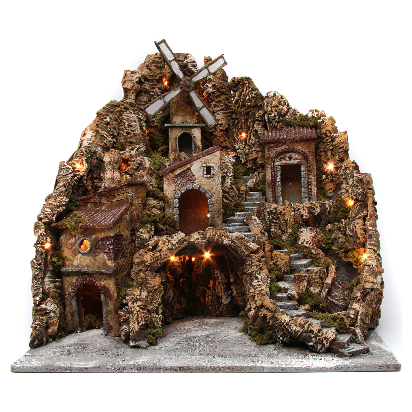 Nativity scene setting with lights, water mill and stream 60x60x70 cm, Neapolitan style 4
