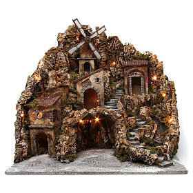 Nativity scene setting with lights, water mill and stream 60x60x70 cm, Neapolitan style s1