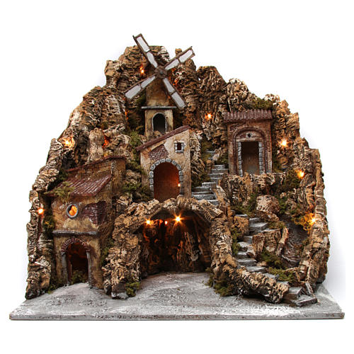 Nativity scene setting with lights, water mill and stream 60x60x70 cm, Neapolitan style 1