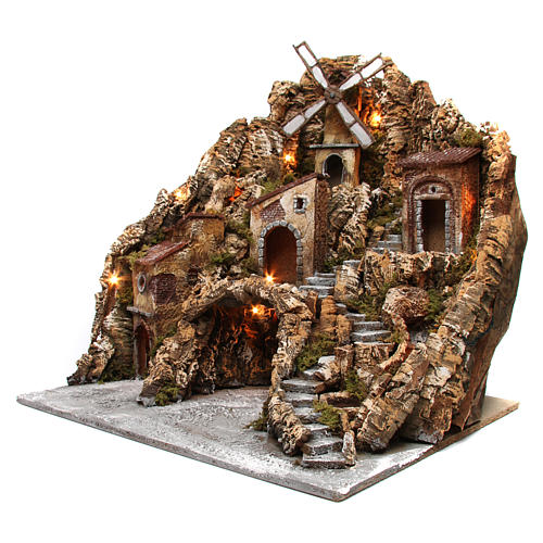 Nativity scene setting with lights, water mill and stream 60x60x70 cm, Neapolitan style 2