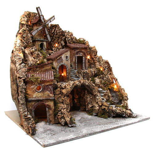 Nativity scene setting with lights, water mill and stream 60x60x70 cm, Neapolitan style 3