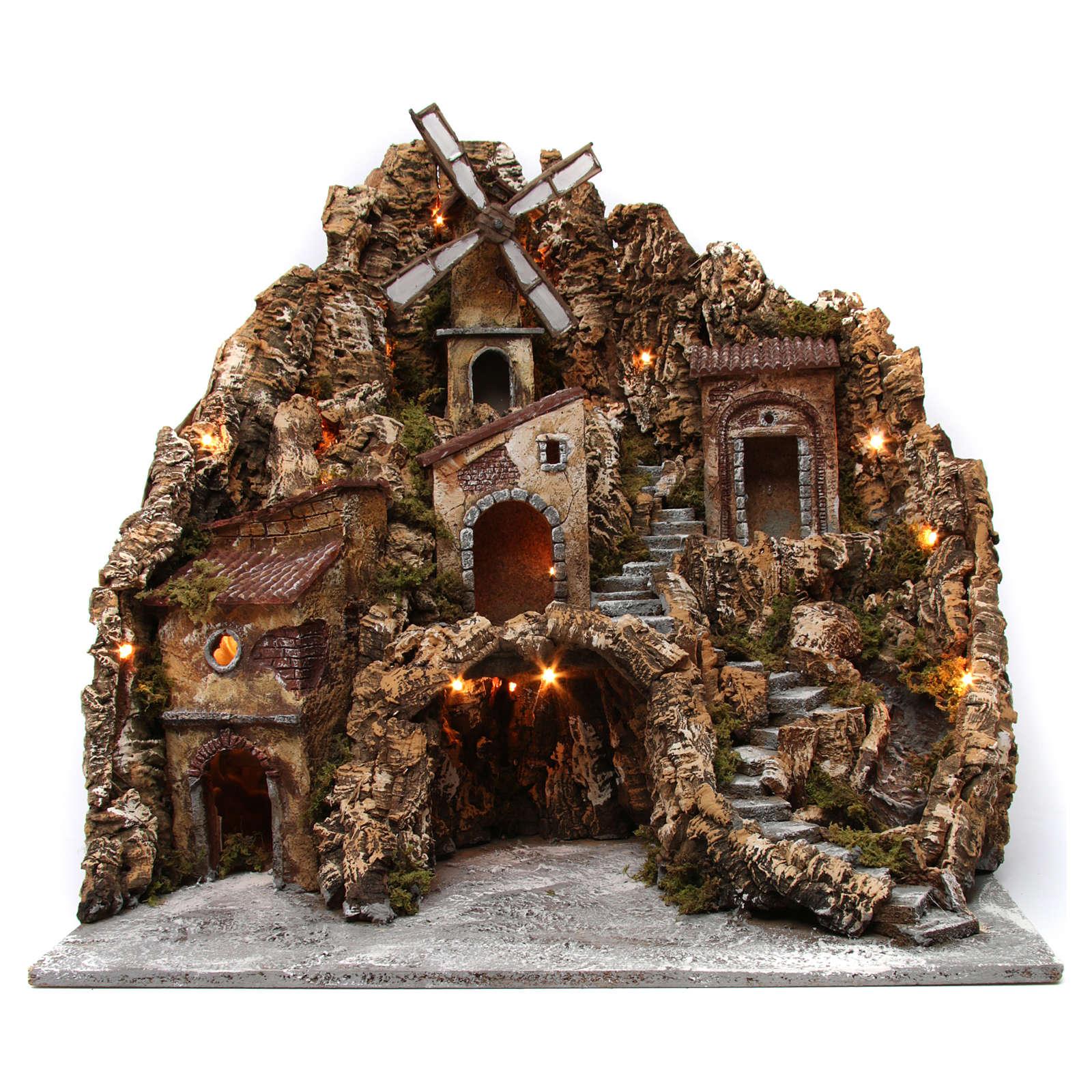 Ambientazione borgo presepe luminoso con mulino ruscello 60X60X70 cm presepe napoletano 4