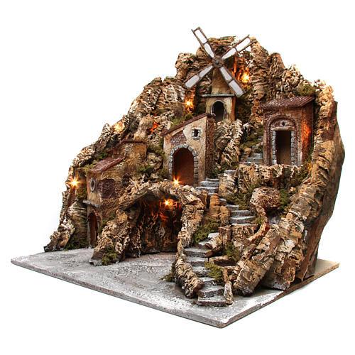 Ambientazione borgo presepe luminoso con mulino ruscello 60X60X70 cm presepe napoletano 2
