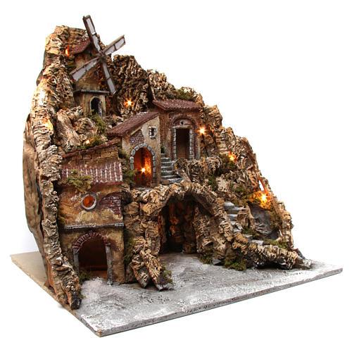 Ambientazione borgo presepe luminoso con mulino ruscello 60X60X70 cm presepe napoletano 3