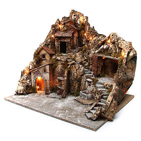 Nativity scene with lights, fountain and oven 55x60x60 cm, Neapolitan style s2