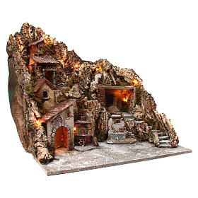 Nativity scene with lights, fountain and oven 55x60x60 cm, Neapolitan style s3