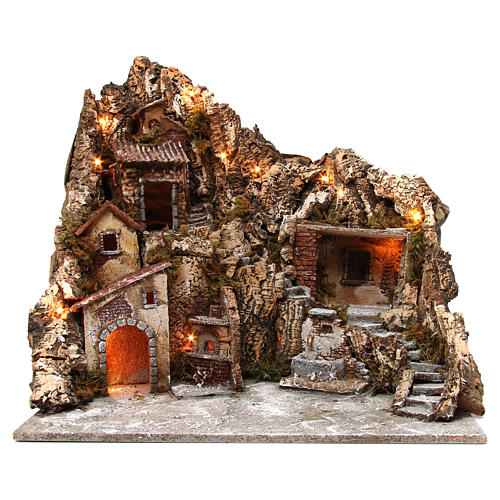 Nativity scene with lights, fountain and oven 55x60x60 cm, Neapolitan style 1
