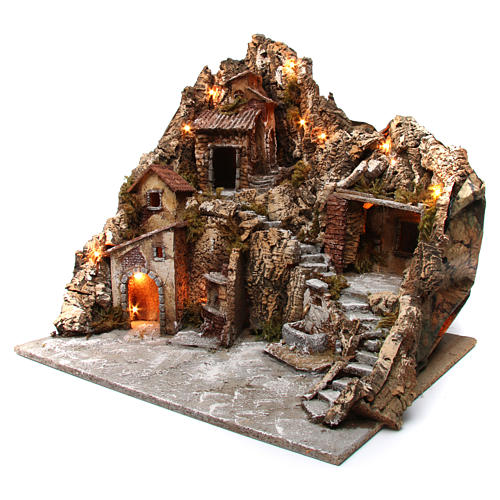 Nativity scene with lights, fountain and oven 55x60x60 cm, Neapolitan style 2