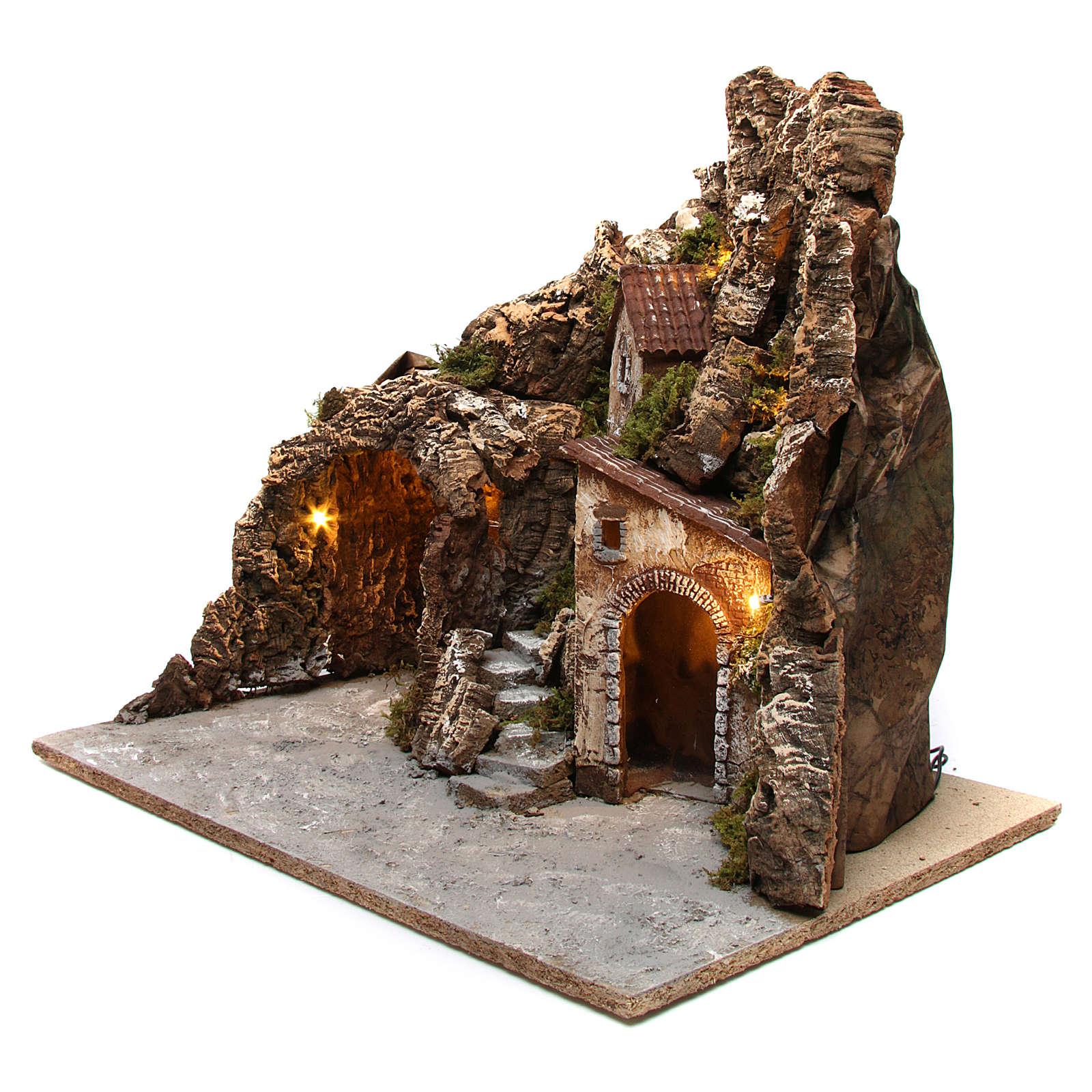 Krippenszenerie, Bergdorf und Höhle mit Beleuchtung, 55x60x60 cm, gefertigt aus Holz und Kork 4