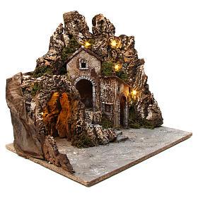 Ambientación belén iluminado con cueva y casitas 55x60x60 cm madera y corcho s3