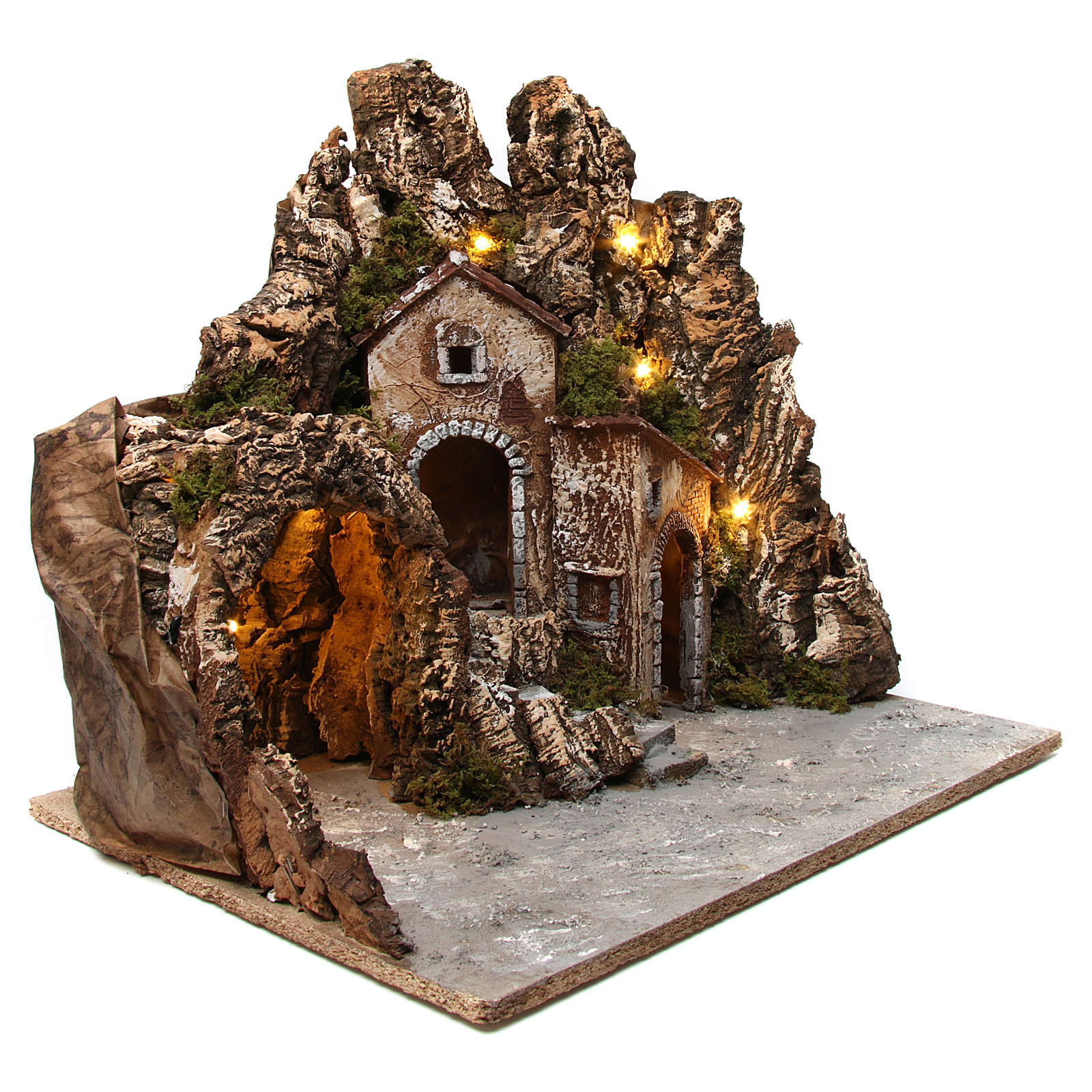 Décor crèche éclairé avec grotte et maisons 55x60x60 cm bois et liège 4