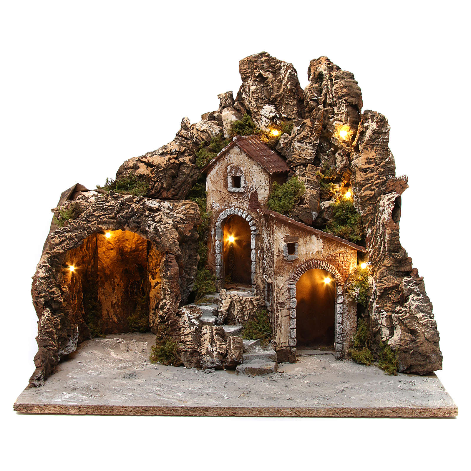 Illuminated nativity scene with cave and small houses 55X60X60 cm wood and cork 4