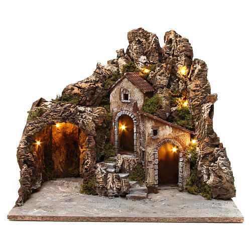 Illuminated nativity scene with cave and small houses 55X60X60 cm wood and cork 1