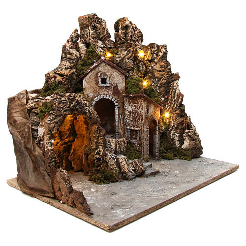 Illuminated nativity scene with cave and small houses 55X60X60 cm wood and cork 3