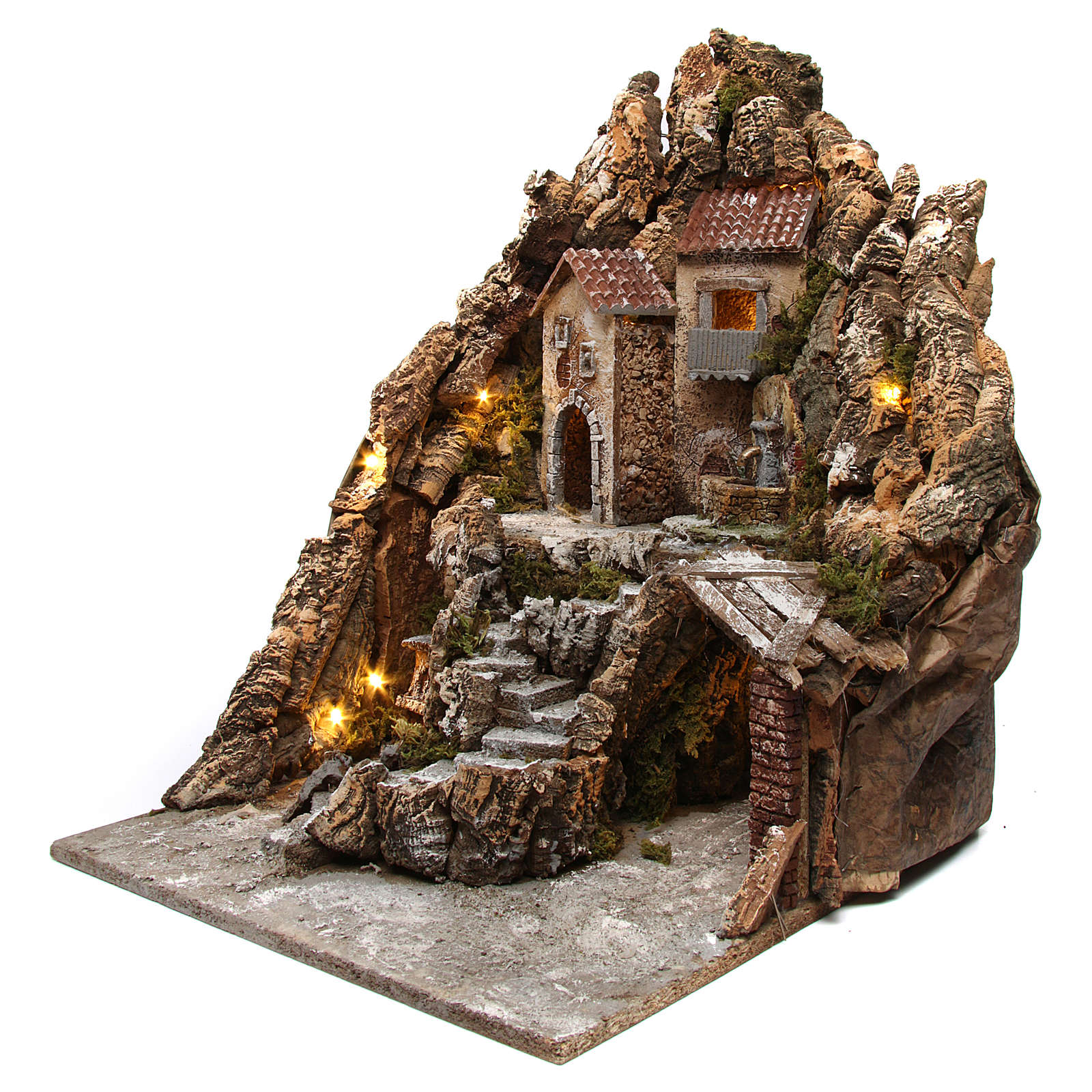 Neapolitan nativity scene setting with lights, fountain and oven 50X40X50 cm 4