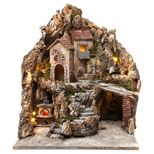 Neapolitan nativity scene setting with lights, fountain and oven 50X40X50 cm 1