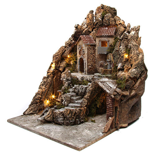 Neapolitan nativity scene setting with lights, fountain and oven 50X40X50 cm 2