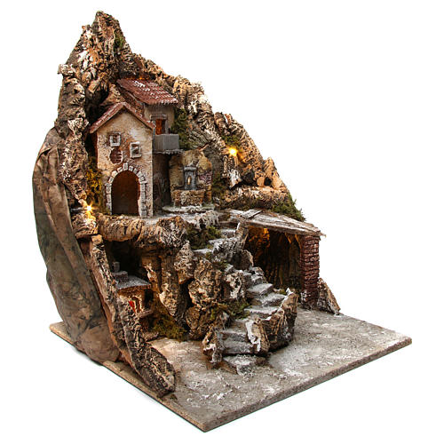 Neapolitan nativity scene setting with lights, fountain and oven 50X40X50 cm 3