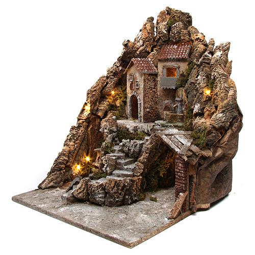 Presepe napoletano scenografia illuminata con fontana forno a lampadina 50X40X50 cm 2