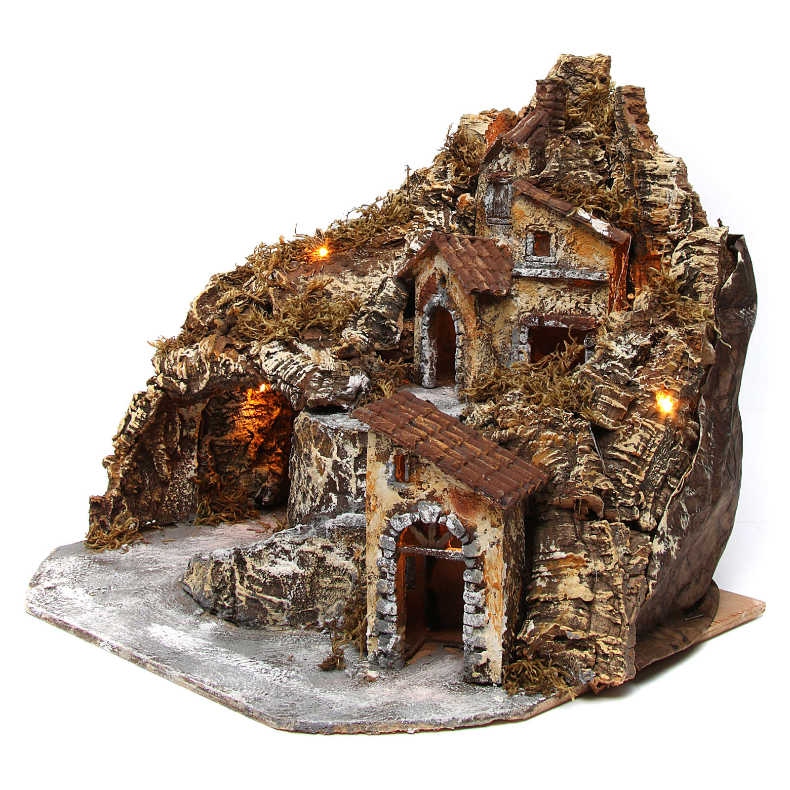 Hamlet with lights and cave in wood and cork for Neapolitan Nativity Scene 35x45x35 cm 4