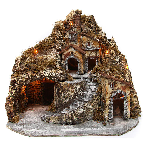 Hamlet with lights and cave in wood and cork for Neapolitan Nativity Scene 35x45x35 cm 1