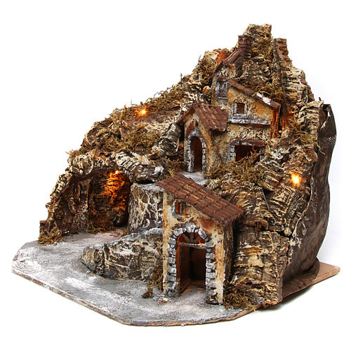 Hamlet with lights and cave in wood and cork for Neapolitan Nativity Scene 35x45x35 cm 2