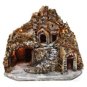 Aldea belén napolitano iluminado con cueva 35x45x35 cm madera y corcho s1