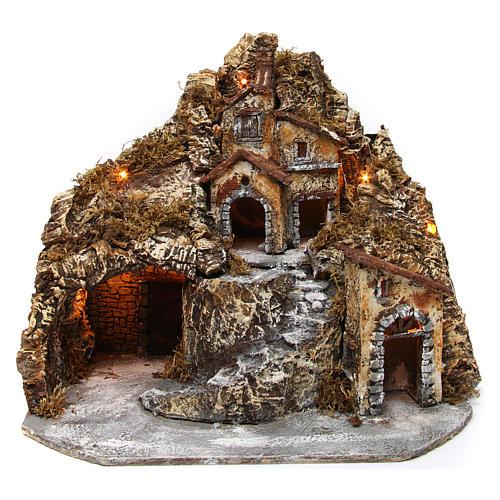Aldea belén napolitano iluminado con cueva 35x45x35 cm madera y corcho 1