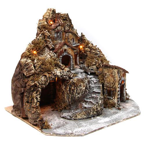 Aldea belén napolitano iluminado con cueva 35x45x35 cm madera y corcho 3