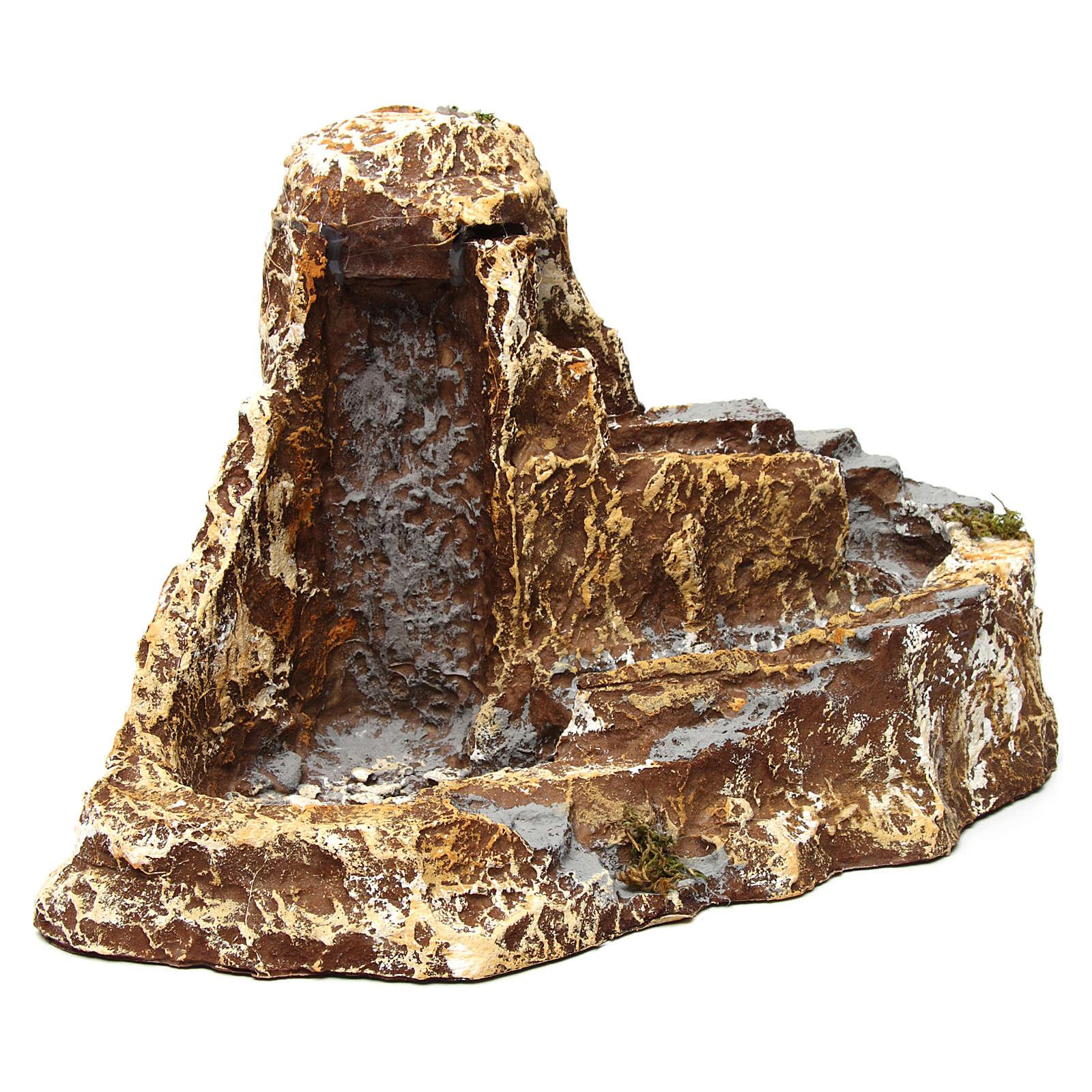 Ruscello con doppia funzione a cascata 25x40x25 cm in resina presepe napoletano 4